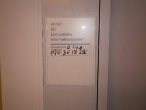Entrance door to my office at Linkoping University (Sweden)